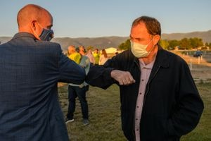 (Trent Nelson  |  The Salt Lake Tribune) Utah Republican gubernatorial candidate Lt. Gov. Spencer Cox and Gov. Gary Herbert at an election night event in Mount Pleasant on Tuesday, June 30, 2020.