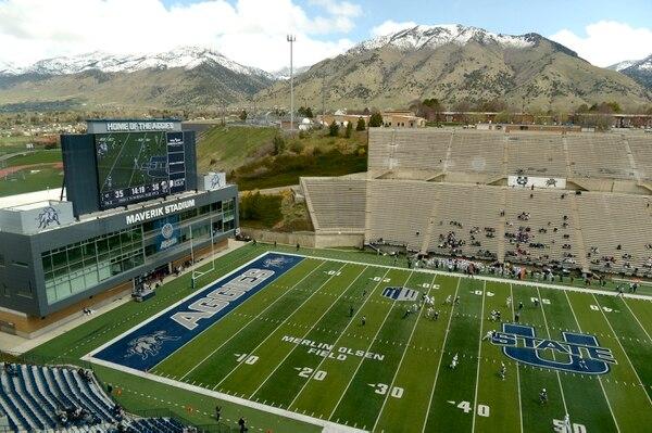 Leah Hogsten | The Salt Lake Tribune The rainy weather held out during Utah State University football team's annual Blue vs. White Spring Game, Saturday, April 8, on Merlin Olsen Field at Maverik Stadium.