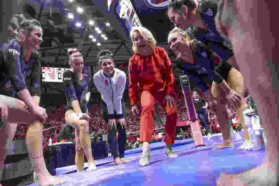 The Red Rocks are back. Utah's gymnastics team gives fans a sneak preview Friday night at the Huntsman Center.