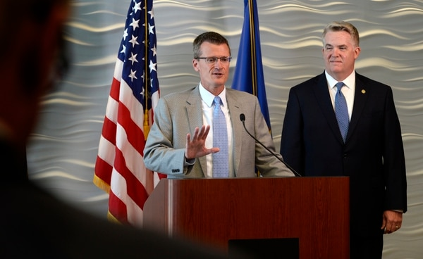 Scott Sommerdorf | The Salt Lake Tribune FBI Special Agent in Charge Eric Barnhart, left, speaks as US Attorney for Utah John Huber is at right at a press conference about the arrest of FLDS Church Leader Lyle Jeffs, Thursday, June 15, 2017. Jeffs was arrested Wednesday night in South Dakota.