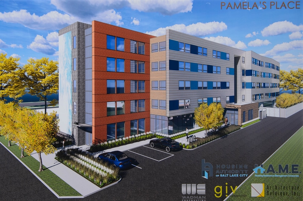 (Trent Nelson | The Salt Lake Tribune) A rendering of Pamela's Place Apartments in Salt Lake City on Wednesday April 17, 2019. The development, named after Pamela Atkinson, a Utah-based humanitarian and advocate for people experiencing homelessness, will serve as a 100-unit permanent supportive housing complex by combining affordable housing assistance with voluntary support services to address the needs of chronically homeless people.