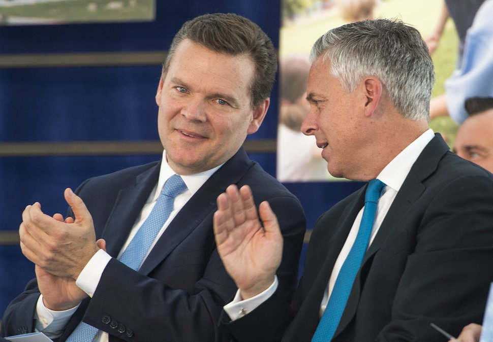 Leah Hogsten | The Salt Lake Tribune l-r Peter Huntsman, CEO of the Huntsman Cancer Foundation and President and CEO of the Huntsman Corporation talks with his brother Jon M. Huntsman, Jr., United States Ambassador to Russia and former Utah Governor during the dedication ceremony of the Primary ChildrenÕs and FamiliesÕ Cancer Research Center, June 21, 2017. Huntsman Cancer Institute (HCI) dedicated the Primary ChildrenÕs and FamiliesÕ Cancer Research Center, a world-class facility dedicated to advancing cancer research and patient care.