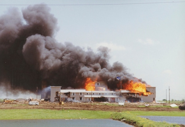 Courtesy | Richard Rodgers The Branch Davidian compound burning in Waco, Texas (April 1993).