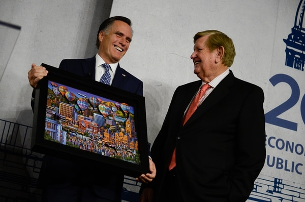 (Francisco Kjolseth | Tribune file photo) Mitt Romney was joined by Kem C. Gardner at a recent speaking engagement, hosted by the Salt Lake Chamber at the Salt Lake City Marriott Downtown at City Creek on Tuesday, Jan. 16, 2018. Through their companies, Gardner and Romney are also investors in a new continuing-care retirement community in Taylorsville, called Summit Vista.