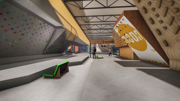 This artist's rendition shows the interior of a Momentum Climbing indoor gym destined for Trolley Square, offering climbing routes for people of all abilities.