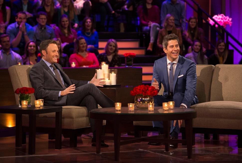 "(Photo courtesy of Paul Hebert/ABC) ""Bachelor"" host Chris Harrison and Arie Luyendyk Jr."