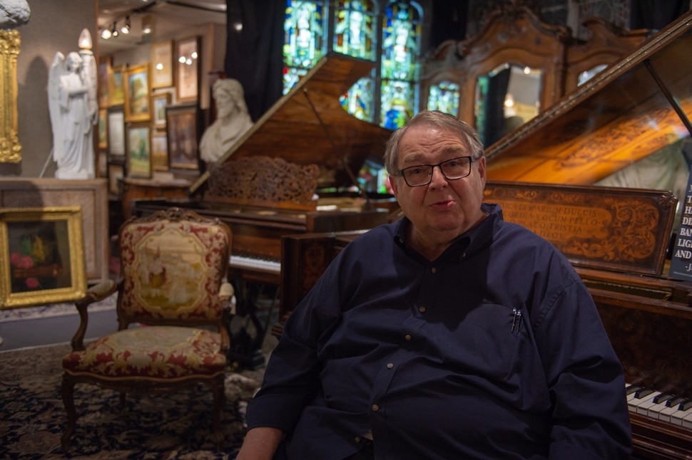 (Rachel Molenda | The Salt Lake Tribune) Anthony B. Christensen, founder of Anthony's Fine Art & Antiques in Salt Lake City,, talks about a collection of early pioneer art and furniture on display on Thursday, July 19, 2018.