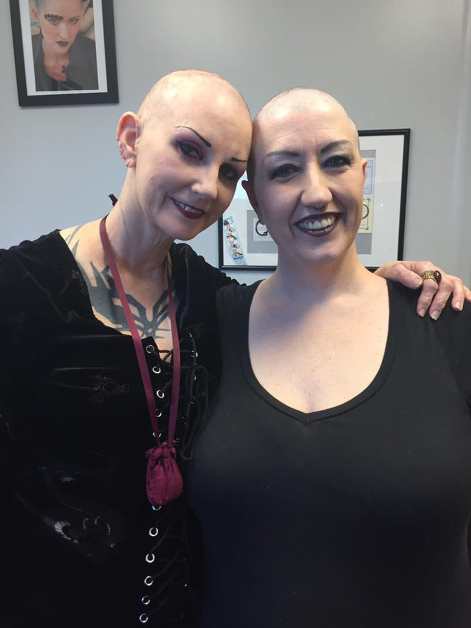 (Courtesy photo) Cinamon Hadley and Tracy Painter, heads shaved in solidarity for Hadley's chemo treatments.