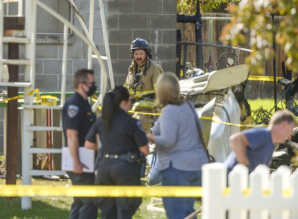 (Leah Hogsten | The Salt Lake Tribune) A plane crashed into a West Jordan neighborhood near 8800 South and 4000 West on July 25, 2020.
