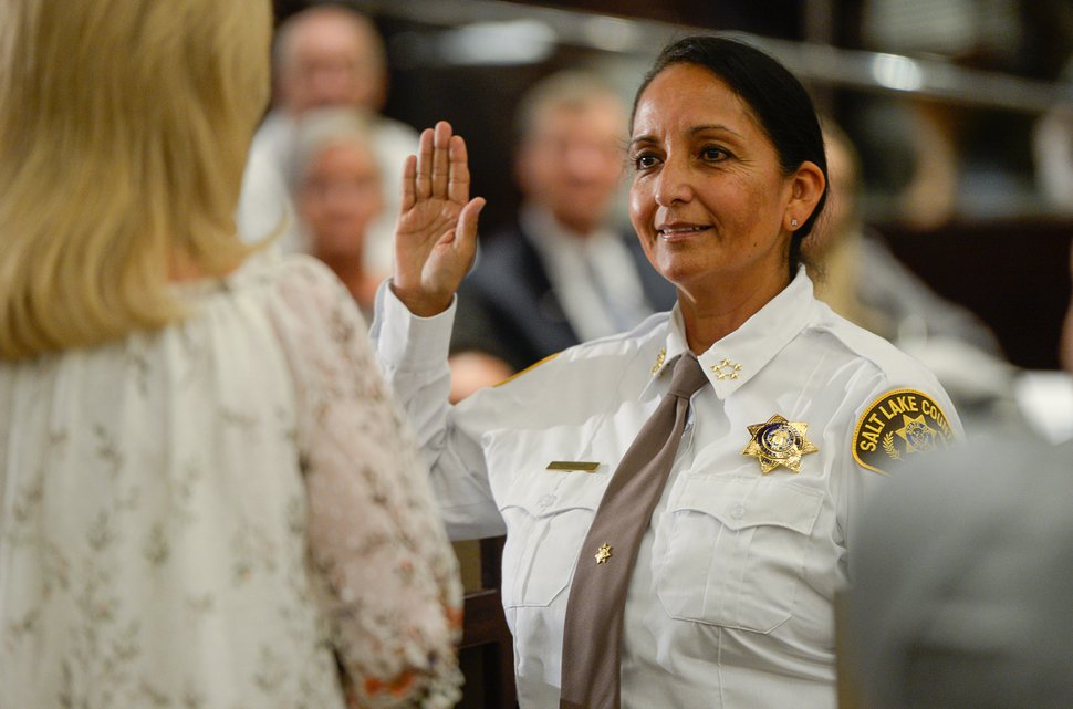 (Francisco Kjolseth | The Salt Lake Tribune) Salt Lake County Democrats who chose Unified Police Deputy Chief Rosie Rivera to lead the state's largest law enforcement agency is sworn in as county sheriff at Salt Lake County Chambers on Tuesday, Aug. 15, 2017. Rivera becomes the county's first female sheriff and the only woman overseeing a sheriff's office in Utah.
