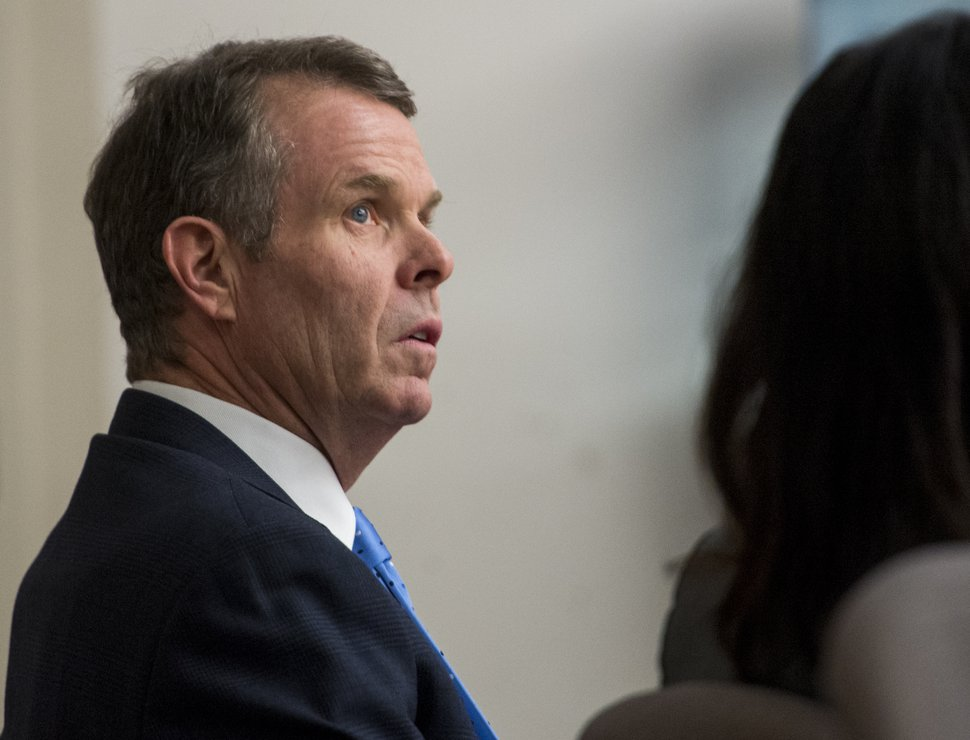 Rick Egan | The Salt Lake Tribune John Swallow listens as members of his defense team, discuss how to correct an error in the jury instructions, in Judge Elizabeth Hruby-Mills courtroom in Salt Lake City, Thursday, March 2, 2017.