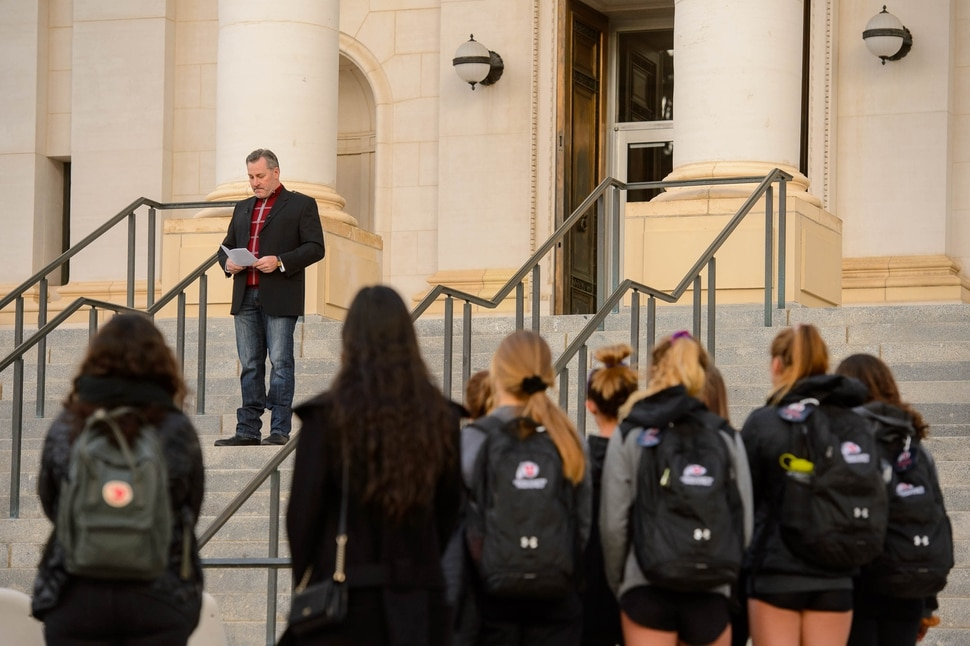 (Trent Nelson | The Salt Lake Tribune) Chris Vogel, who coached Lauren McCluskey before she came to Utah, speaks during a vigil for McCluskey at the University of Utah in Salt Lake City on Tuesday Oct. 22, 2019.