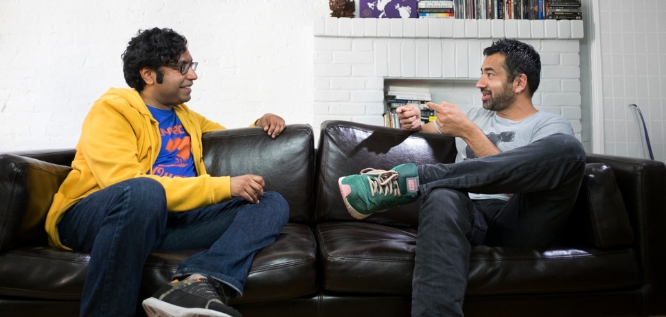 "(Photo courtesy David S. Holloway/truTV) Hari Kondabolu chats with Kal Penn — who hates Apu — in ""The Problem with Apu."""