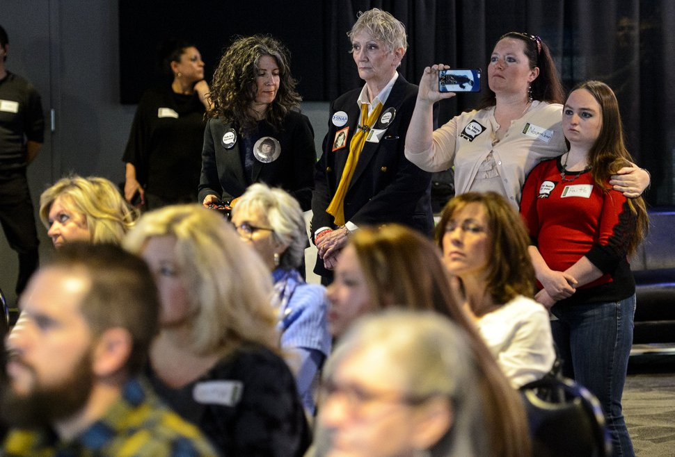 (Steve Griffin   The Salt Lake Tribune) Audience members listen as Sam Young, who is leading a petition drive to stop sexually explicit interviews of Mormon youths by their LDS Bishops, talks during a news conference in Salt Lake City on Thursday, Jan. 18, 2018.