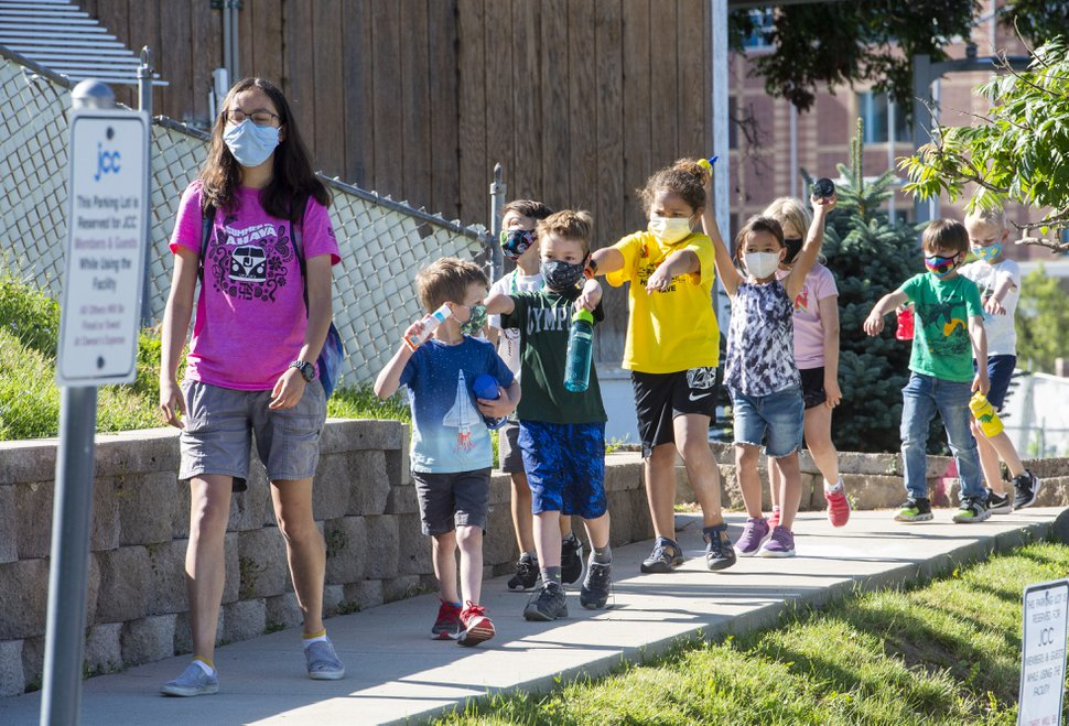 (Rick Egan   The Salt Lake Tribune) Children at the Jewish Community Center walk like mummies to help with social distancing as they take a nature walk on Thursday, July 2, 2020.