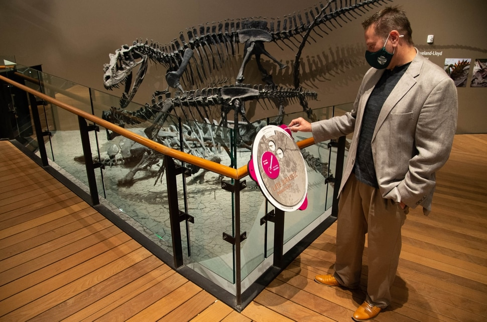 (Francisco Kjolseth | The Salt Lake Tribune) Jason Cryan, who became the new director of the Natural History Museum of Utah in March – just in time to close the place because of COVID-19, demonstrates one of the updates that has been made to hopefully reopen the museum in mid-August. Interactive displays can now be moved with the use of a stylus which will be provided to guests with the purchase of a ticket.