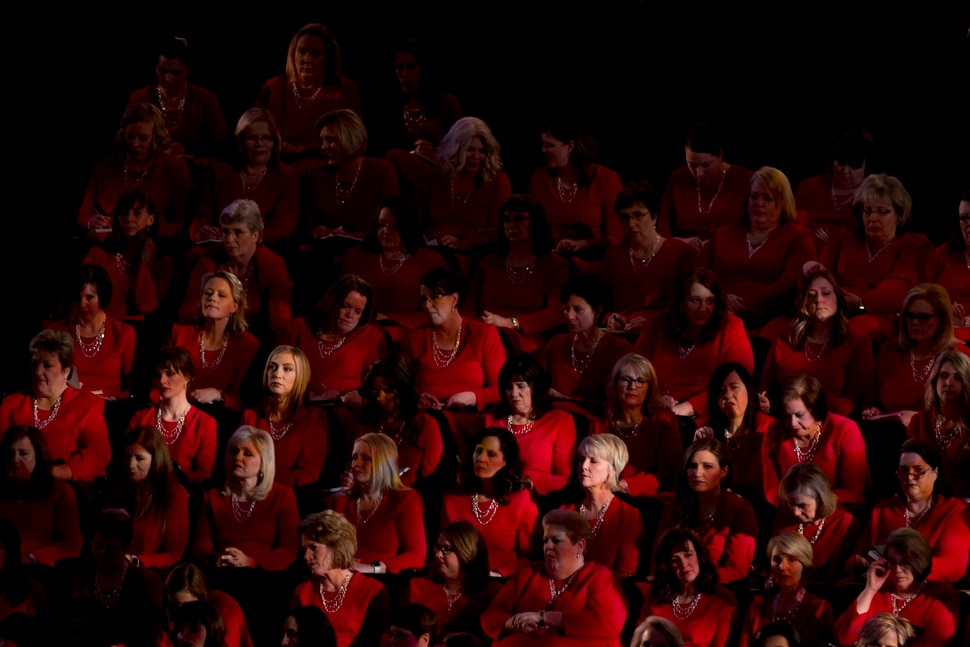 (Jeremy Harmon | The Salt Lake Tribune) Members of the Tabernacle Choir listen to Elder Larry Y. Wilson during the Sunday morning session of General Conference on April 1, 2018.