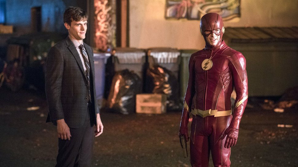(Photo courtesy of Jack Rowand/The CW) Hartley Sawyer as Dibny and Grant Gustin as the Flash in