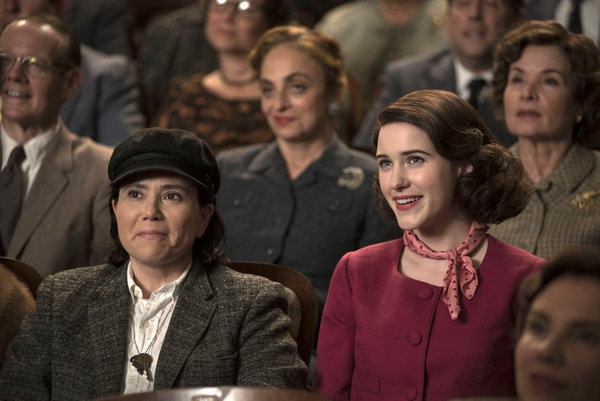 This image released by Amazon shows Alex Borstein as Susie Myerson, left, and Rachel Brosnahan as Midge Maisel in