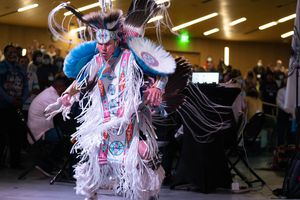 (Francisco Kjolseth   The Salt Lake Tribune) Christian Parrish Takes the Gun, known professionally as Supaman, performs a dance for the start of the 15th Annual Governor's Native American Summit held on the Utah Valley University campus on Friday, Aug. 6, 2021.