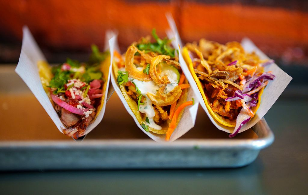 (Trent Nelson  |  The Salt Lake Tribune) The Chancho, Tikka, and The Royal at ROCTACO in Salt Lake City on Monday, April 26, 2021.