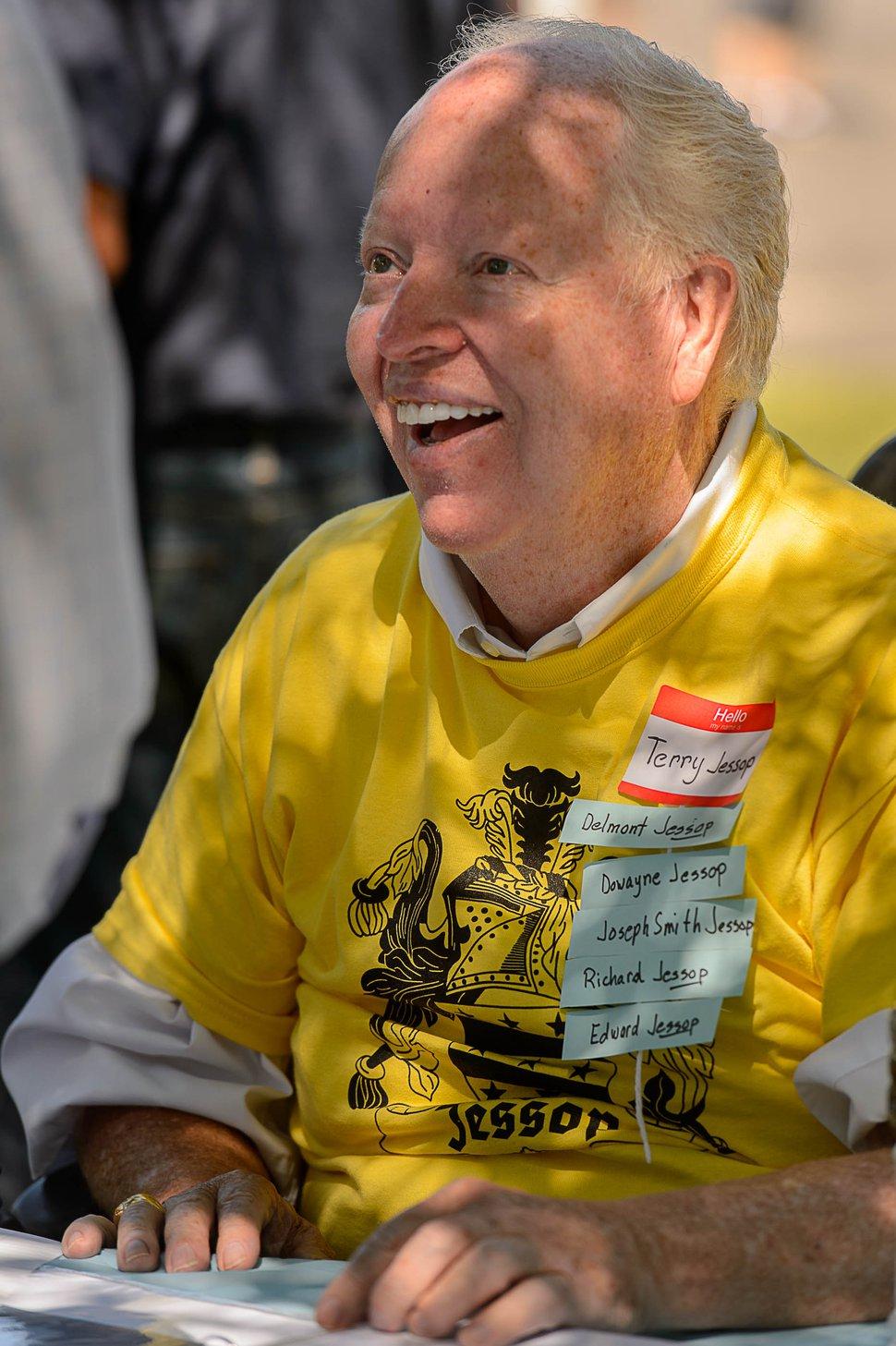 (Trent Nelson | The Salt Lake Tribune) Terry Jessop, organizer of the Jessop Family International Reunion in Millville Saturday August 12, 2017.