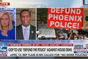 "(Screenshot | Fox News) Utah Rep. Burgess Owens went on Fox News Monday to claim Salt Lake City ""defunded"" its police by $5 million and murders are now on the rise. The city's changes to the police budget were actually more nuanced; spending increased in some categories, and some money was shifted but continued to be spent in support of the department."
