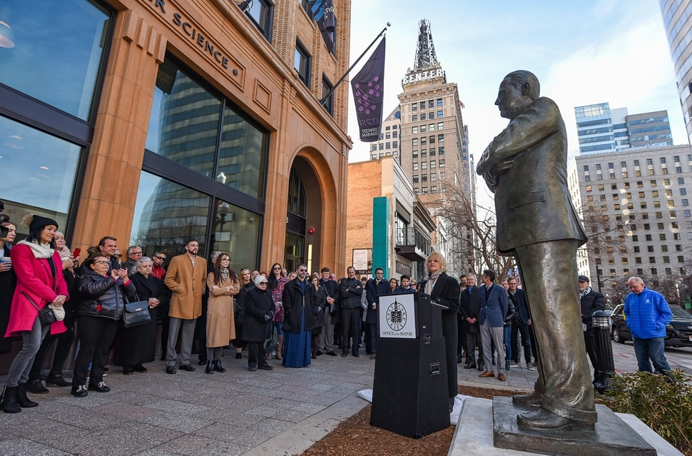 (Francisco Kjolseth | The Salt Lake Tribune) Salt Lake Mayor Jackie Biskupski says a few words as an eight-foot bronze statue celebrating Vasilios Priskos' life and community contributions is unveiled on Friday, Jan. 3, 2020, along Main Street in Salt Lake City at the entrance of Vasilios Priskos Walkway. As the founder of Internet Properties, a major downtown property owner, developer, real estate magnate and advocate for historic preservation and downtown Salt Lake City's continued development, Vasilios helped shape the city that he loved. He passed away in 2017 after a long battle with cancer.