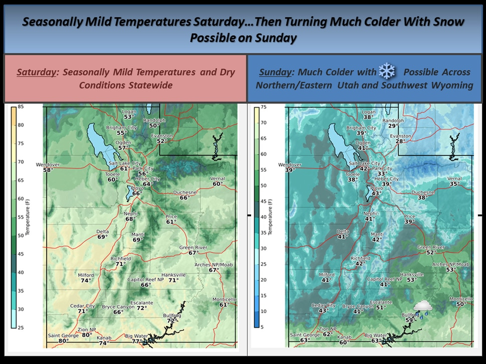 (Courtesy National Weather Service) A cold front will drop temperatures in Utah on this weekend.