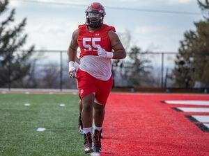 (Kory Mortensen | University of Utah Athletics) Offensive lineman Nick Ford participates in Utah football spring practice, Monday, March 15, 2021.