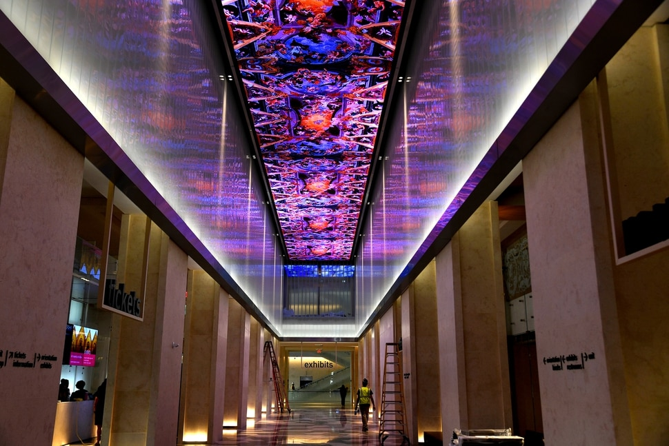 The high-tech ceiling in the hallway at the entrance to the Museum of the Bible will feature digital images and movies as well as running scripture verses. MUST CREDIT: Washington Post photo by Michael S. Williamson.