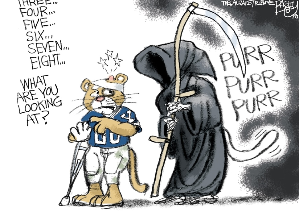 (Pat Bagley | The Salt Lake Tribune) This cartoon by Pat Bagley titled Nine Lives to Live appears in The Salt Lake Tribune on Tuesday, Nov. 27, 2018.