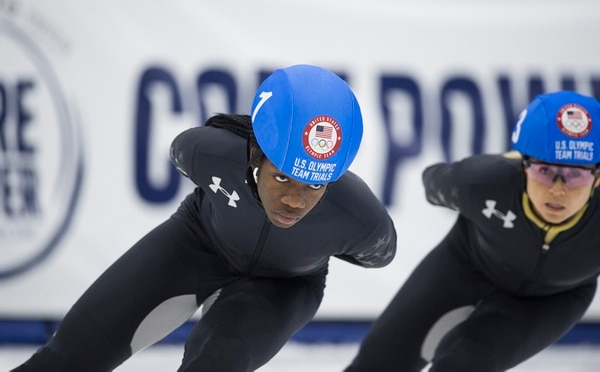 (Scott Sommerdorf | The Salt Lake Tribune) Maame Biney skates during her 1000 meter final during day 3 of the U.S. short-track Olympic Team Trials at the Utah Olympic Oval, Sunday, December 17, 2017.