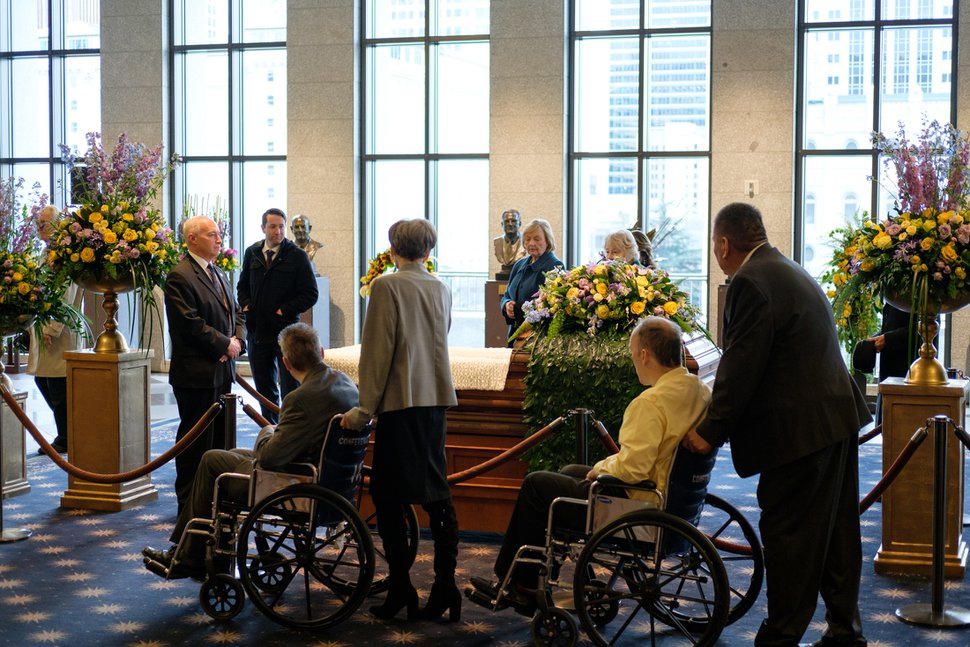 (Photo courtesy of the LDS Church) Mourners pay their respects during the viewing for Mormon church President Thomas S. Monson at the LDS Conference Center in Salt Lake City, Utah, on Thursday, Jan. 11, 2018. Monson died last week at the age of 90.