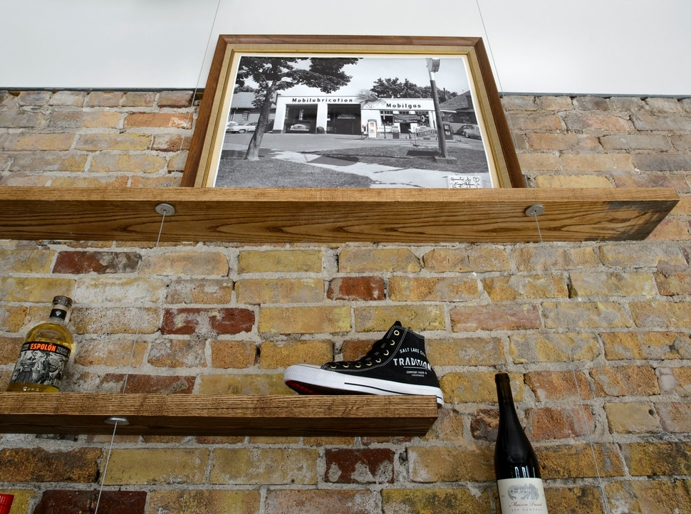 (Steve Griffin | The Salt Lake Tribune) Tradition is a new restaurant that specializes in comfort food in Salt Lake City. Above is a photograph of the original building that was built as a Mobilgas Station.