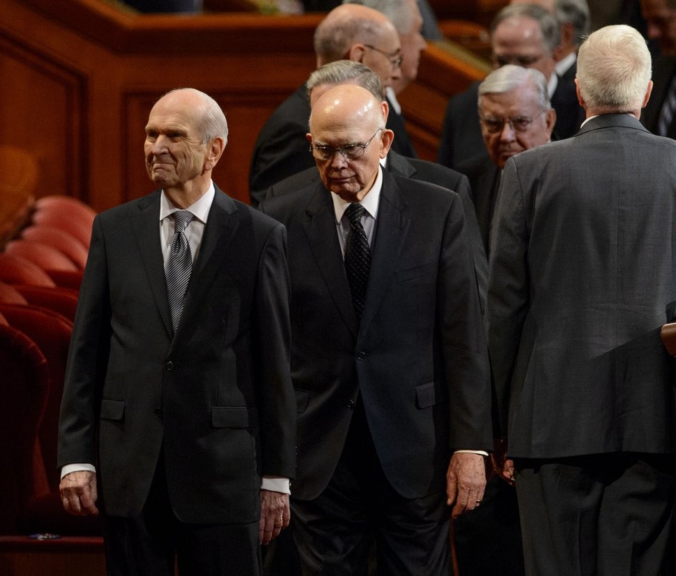 (Steve Griffin | The Salt Lake Tribune) President Russell M. Nelson smiles up at members of the Tabernacle Coir as he enters the Conference Center with the leadership of the LDS Church during funeral services for LDS Church President Thomas S. Monson at the Conference Center in Salt Lake City on Friday, Jan. 12, 2018.
