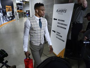 (Scott Sommerdorf | The Salt Lake Tribune) Thunder forward Russell Westbrook arrives before Game 6 of the first round playoff game between Utah and Oklahoma City, Friday, April 27, 2018.