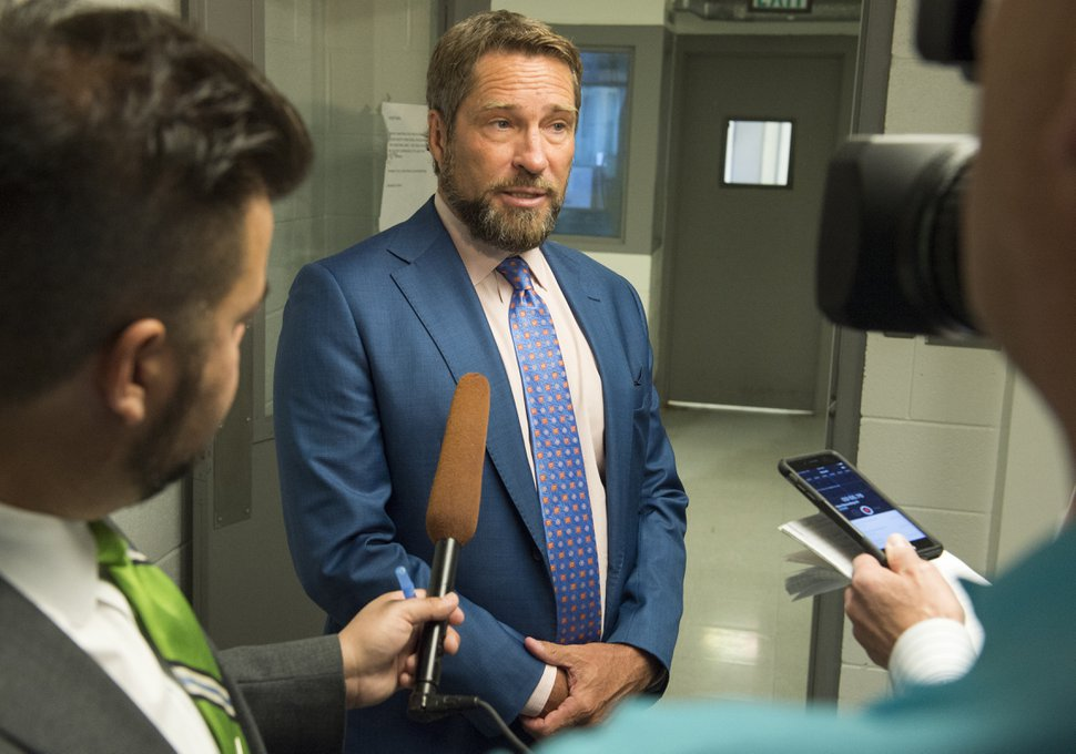 (Rick Egan | The Salt Lake Tribune) Attorney Scott C. Williams talks to the media at the Utah State Prison in Draper, Utah, after a parole hearing for Wanda Barzee on Tuesday, June 12, 2018.