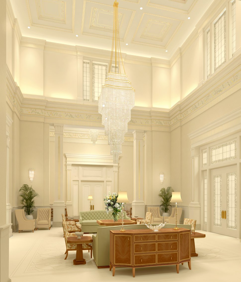(Photo courtesy of The Church of Jesus Christ of Latter-day Saints) Rendering of the Celestial Room in the Pocatello Idaho Temple.