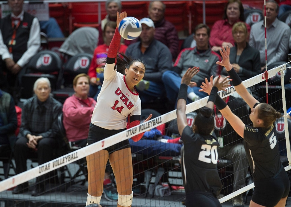 (Scott Sommerdorf | The Salt Lake Tribune) Adora Anae spikes a point during Utah's first set win. Utah beat Purdue three sets to one in the second round of the NCAA volleyball tournament, Friday, December 1, 2017.