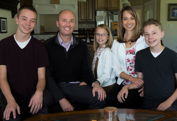 (Leah Hogsten   The Salt Lake Tribune) Lieutenant Governor Spencer Cox and his family l-r Kaleb, 16, Emma Kate, 10, wife Abby and Adam, 14 at their home in Fairview, Utah. Gavin Cox, 18, who is not pictured, is serving a mission in Mozambique.