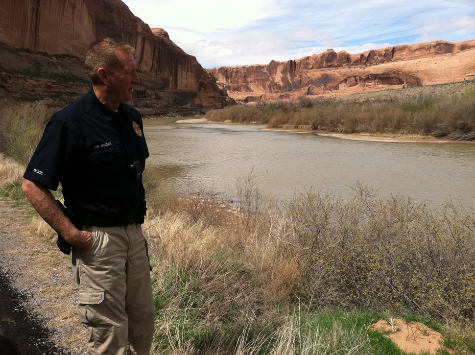 (Courtney Tanner | The Salt Lake Tribune) Jim Winder, the chief of police for Moab, stands on the side of the road near the Colorado River on April 7, 2018. He stepped down from his position as Salt Lake County sheriff in July 2017.