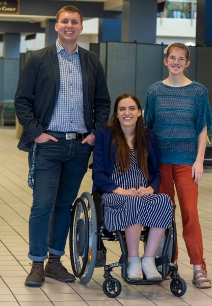 (Rick Egan | The Salt Lake Tribune) Caleb Stewart, Kendra Muller and Megan McLaws, are challenging how BYU accommodates students with disabilities. Wednesday, April 17, 2019.