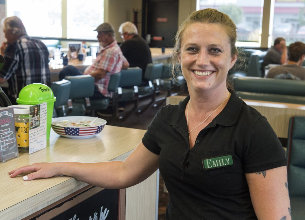 (Rick Egan | The Salt Lake Tribune) Emily Blain works as a waitress at Dee's restaurant on Redwood Road, Saturday, Aug. 11, 2018.
