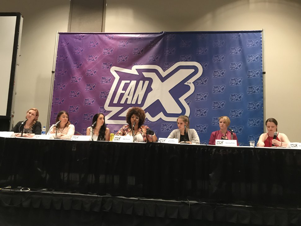 (Paighten Harkins | The Salt Lake Tribune) Panelists sit behind a table for a discussion about sexual harassment at the FanX Salt Lake Comic Convention on Saturday, Sept. 8, 2018. Left to right: Callie Stoker, Rebecca Rode, Cat Umano, Kira Coelho (AKA Kiki Furia), London Reynolds, Tawny Fritz and Michelle Witte.