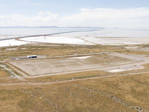 (photo courtesy Fox13) This Aug. 14, 2019, file photo shows an overview of the landfill on the tip of the Promontory Point cape jutting into the Great Salt Lake. Box Elder County has now cancelled its contingency contract with the landfill, which has no other contracts in place to receive waste.