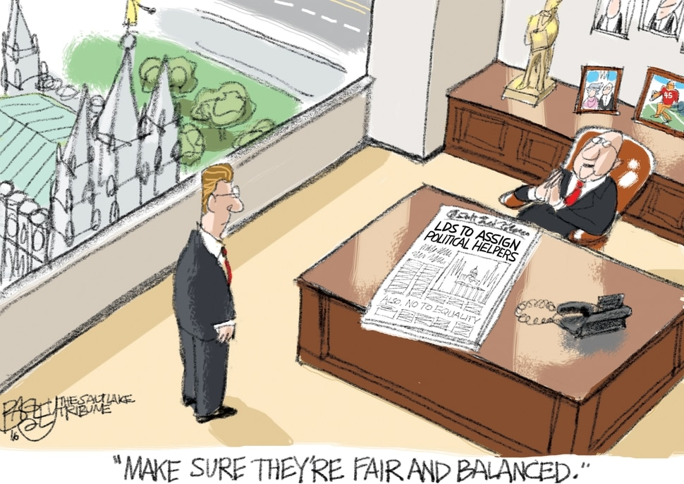 (Pat Bagley | The Salt Lake Tribune) This cartoon, titled Churchy State, appears in The Salt Lake Tribune on Wednesday, May 15, 2019.