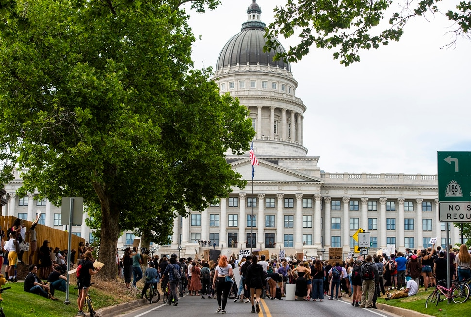(Rick Egan | The Salt Lake Tribune) Protesters gather in front of the State Capitol, during a demonstration in Salt Lake City on Thursday, June 4, 2020.