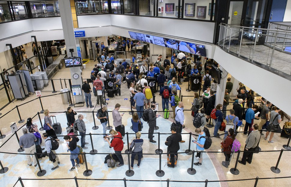 (Steve Griffin | The Salt Lake Tribune) Security line at the Salt Lake International Airport in Salt Lake City Thursday October 5, 2017.