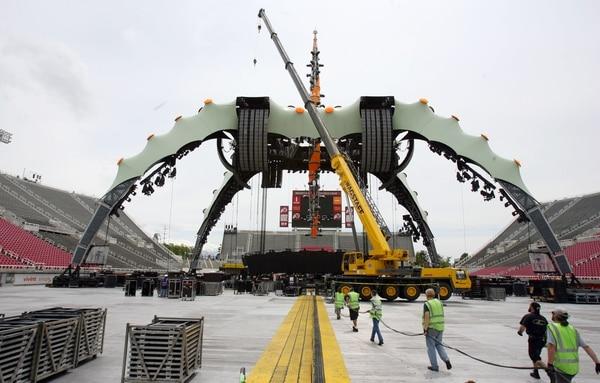 (Steve Griffin | The Salt Lake Tribune) The U2 360 Tour stage begins to take shape inside Rice Eccles Stadium in Salt Lake City, Utah Monday, May 23, 2011.